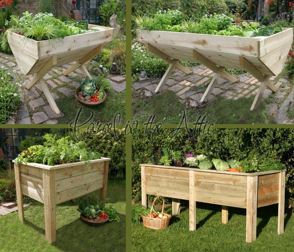 details about large garden vegetable veg trough wooden timber