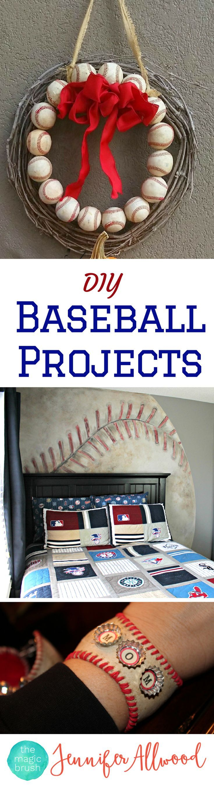 Great mens' gift ideas and boys' gift ideas - tons of DIY baseball projects and baseball gifts by theMagicBrushinc.com | Make your own baseball door decor and home decor