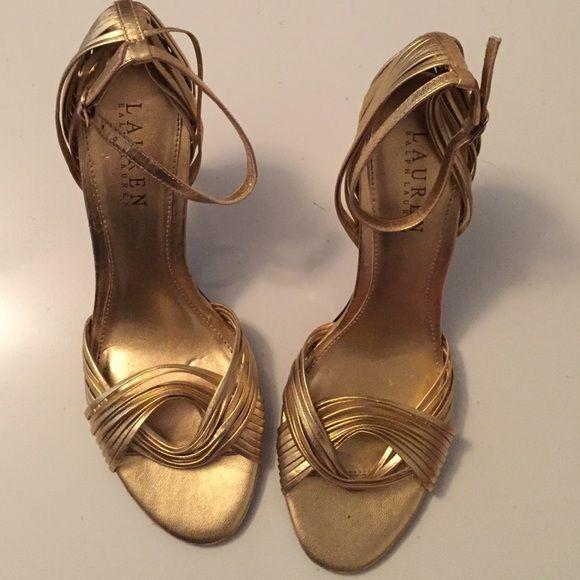 Ralph Lauren heels size 7 Ralph Lauren scrappy heels gold size 7 medium used has a few nicks and scratches but good condition Ralph Lauren Shoes Heels