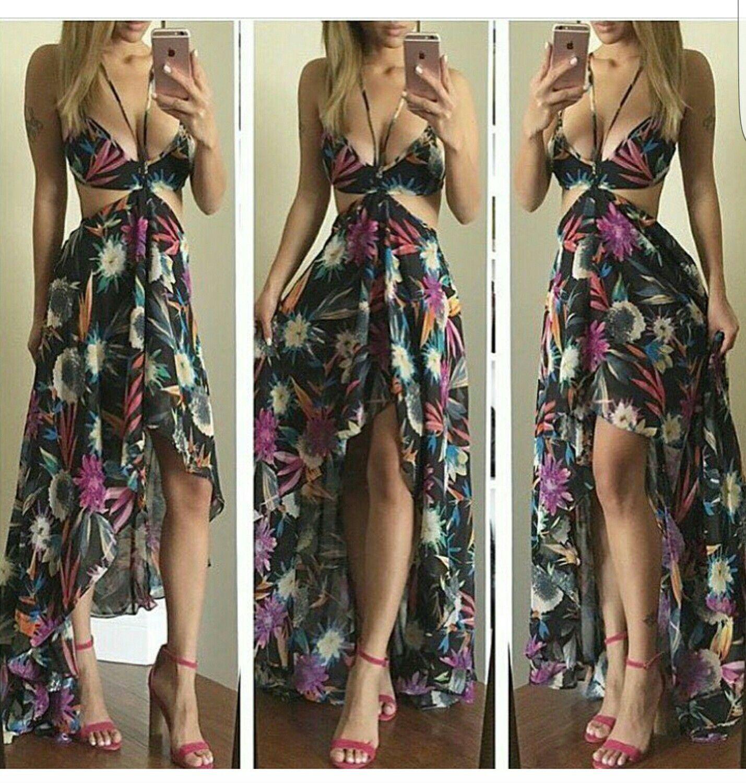 Love this tropical print cut out dress!