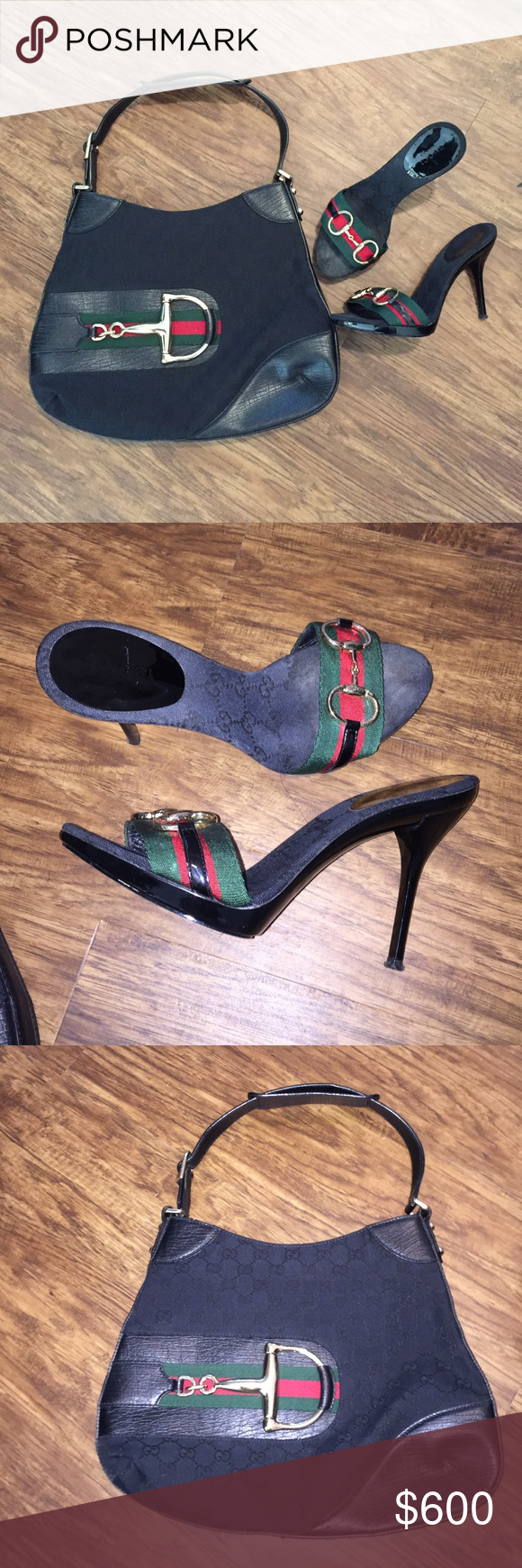 Authentic Gucci Bag and Shoe Set Gently used purse and very loved slides. Authentic with dust bags. Shoes need heel tap and cleaning to be back in perfect shape!! Medium sized shoulder bag. Gold hardware. Gucci Shoes Heels