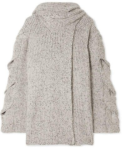 68395594 See by Chloe Mélange Ribbed-knit Cardigan - White   Dusters ...
