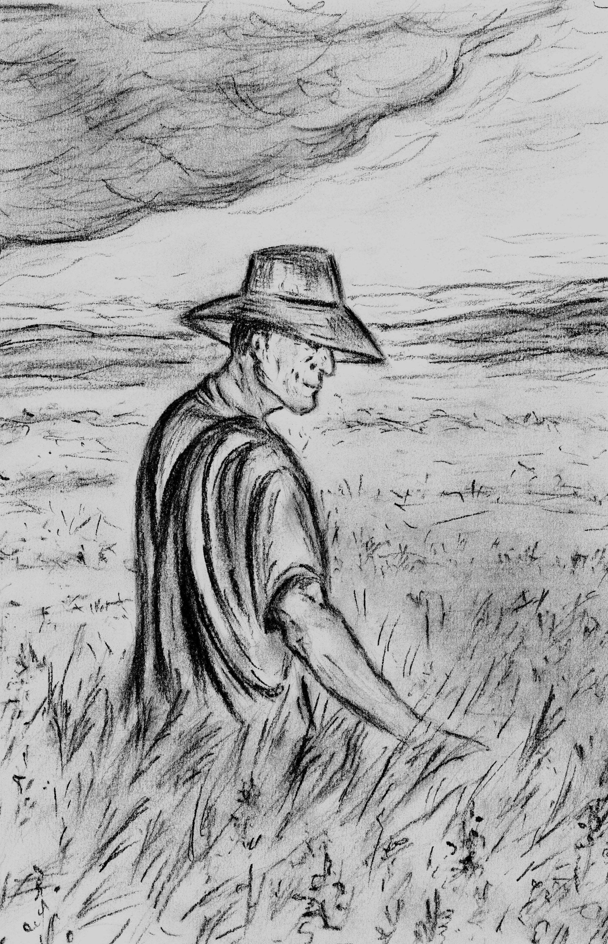 Farmer In The Field Harvest Drawing Charcoal Sketch Printable Charcoal Art Printable Farmhouse Printable Art Printable Art Prints Pencil Sketches Landscape