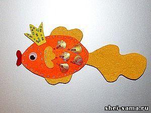 Делаем магнит из фетра «Золотая рыбка» | Фетр, Рукоделие ...