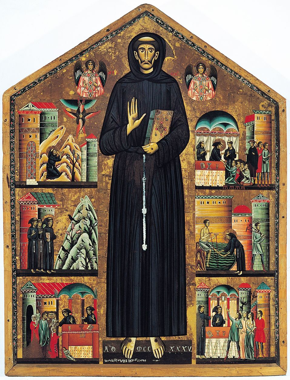 Bonaventura Berlinghieri São Francisco e cenas de sua vida, 1235, uma das mais antigas pinturas representando São Francisco de Assis