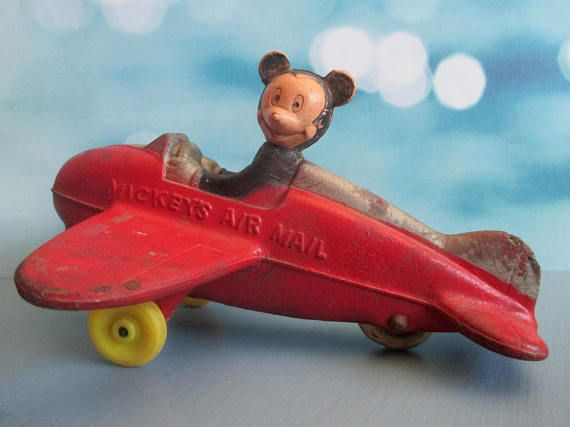 Vintage Mickey Mouse Air Mail Airplane Sun Rubber Co