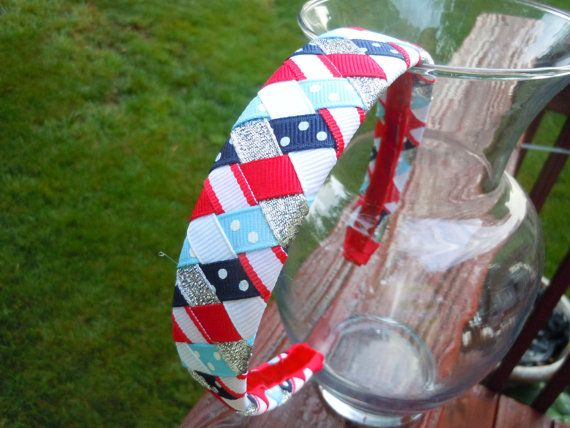 Patriotic 4th of July 6 Ribbon Woven Braided by ExcuseMeDesigns, $6.50