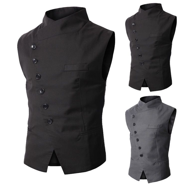84f4c2ff42b New Arrival Mens Slim Fit Stand Collar Casual Button Vest Waistcoat Jacket  Gilet  New
