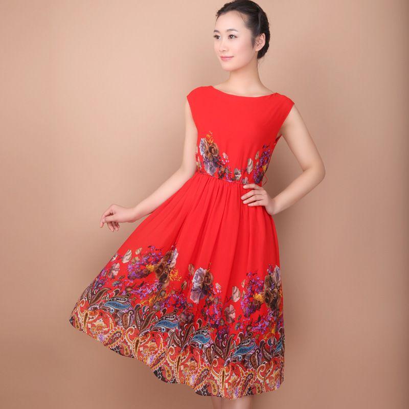 Red summer dresses cheap