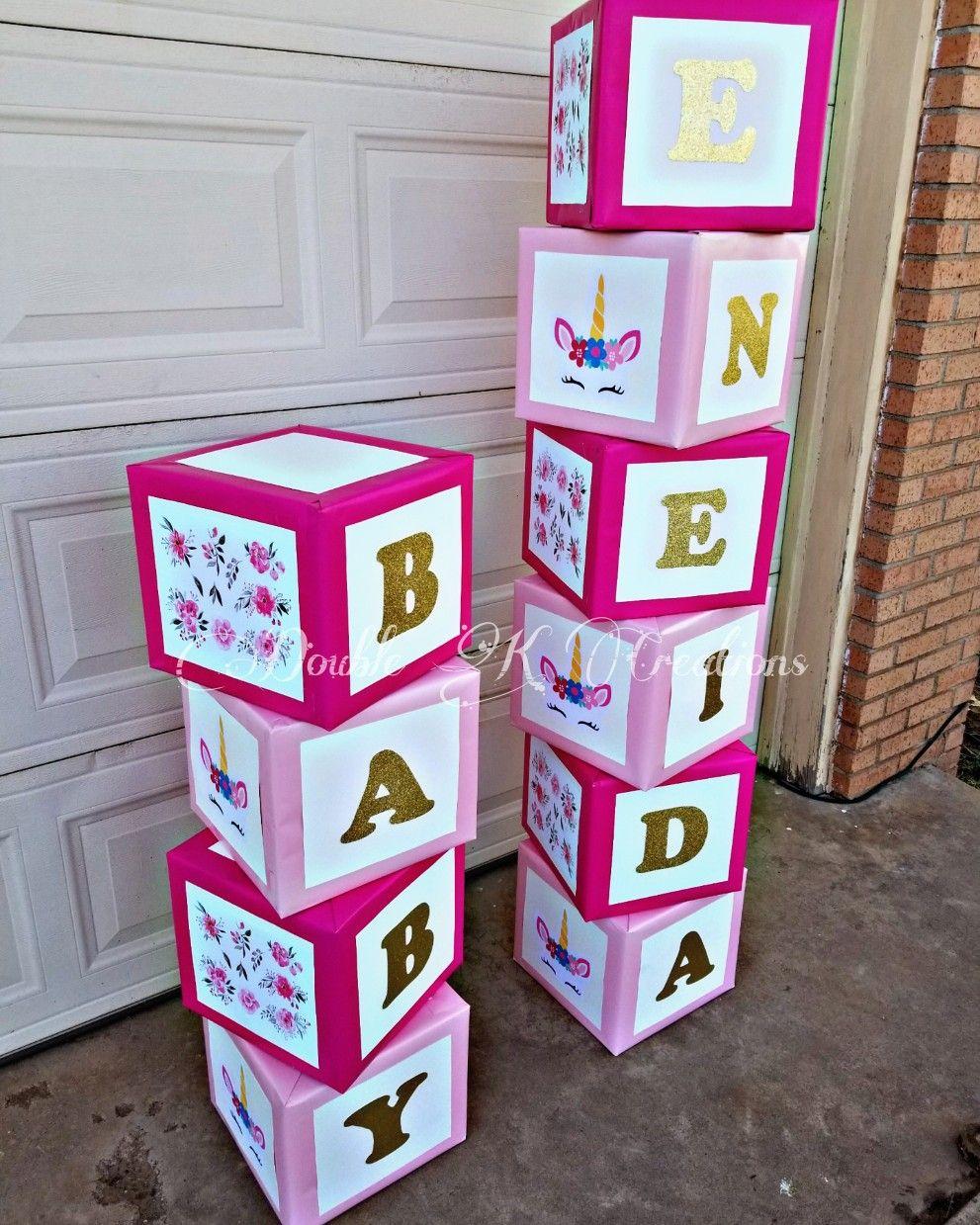 Unicorn Letter Blocks With Images Unicorn Baby Shower Diy