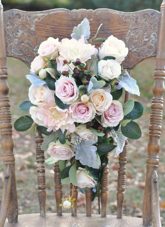 Silk Flower Bride Bouquet, Blush Dahlia, Blush Roses, Faux Flowers ...