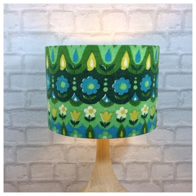 Lamp shade handmade from original vintage 60 70s barkcloth fabric