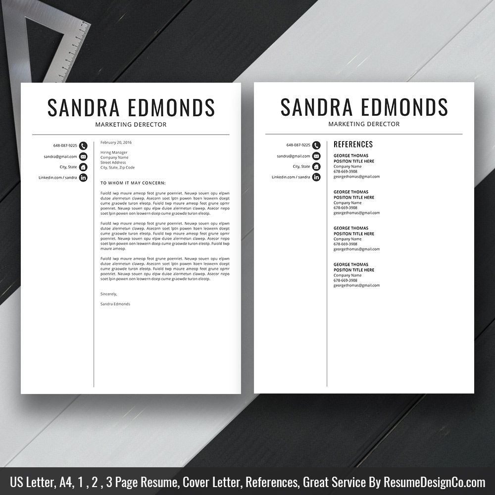 Instant Download The Sandra Resume  Icon Files Professional