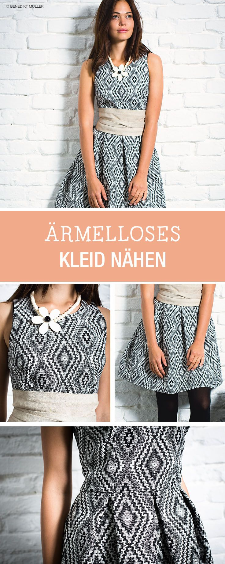 DIY-Anleitung: Ärmelloses Kleid aus Jacquard nähen via DaWanda.com ...