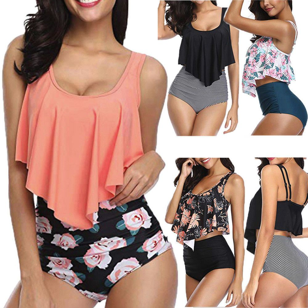 89ac70a3a77 Women Sexy Floral Printed Plus Size Backless Halter Swimwear Set Bathing  Suit  Unbranded  Bikini