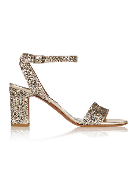 Glitter-finished Leather Sandals