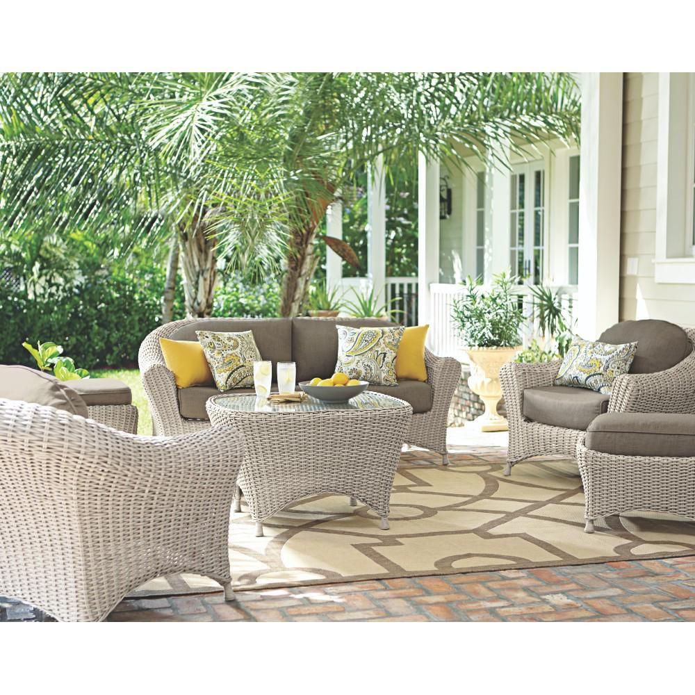 Martha Stewart Living Lake Adela Bone 6 Piece Patio Seating Set With Wheat  Cushions