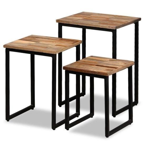 Table Basse Gigogne 3 Pcs Teck Massif De Récupérat Industriel