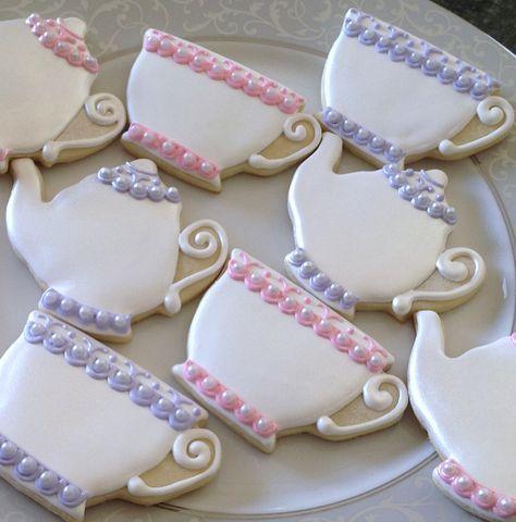 Teacup Sugar Cookies Decorated | Pearl Teacup and Teapot Sugar Cookies Set by SparklingSugarCookie