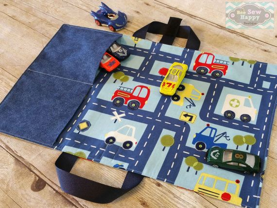 Handmade Toy Car Holder : Toy car caddy play mat carrier roll