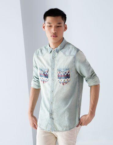 Ethnic embroidered detail denim shirt #ethnic #denim #BershkaDenim