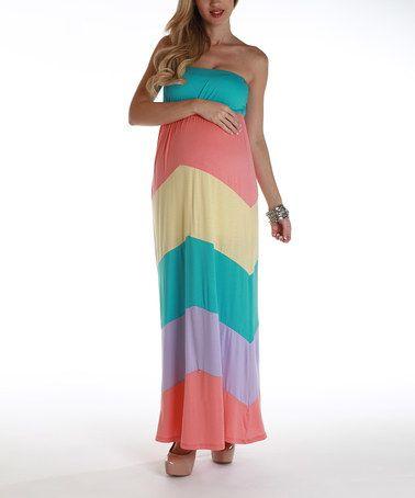 Pastel color block maxi dress