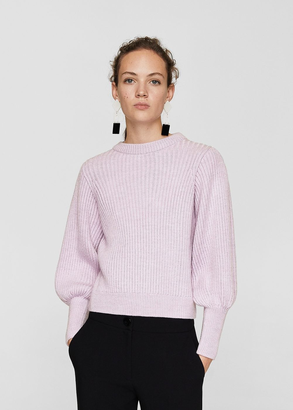 e9e364dfff441c Puffed sleeves ribbed jumper - Women | knits | Sweaters, Pullover ...