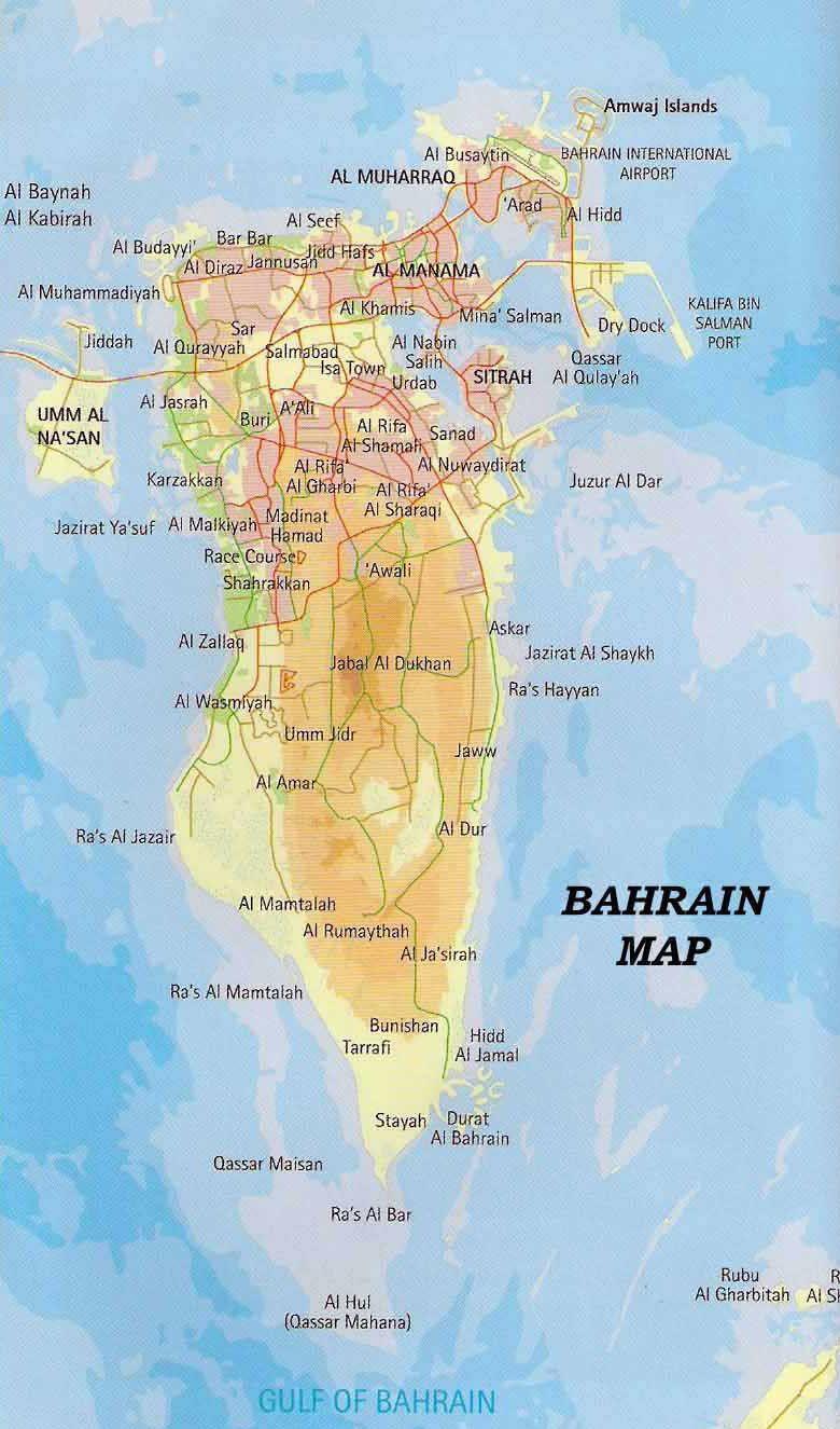 bahrain road map download Map Of Bahrain Bahrain Map Map Tourist Map bahrain road map download
