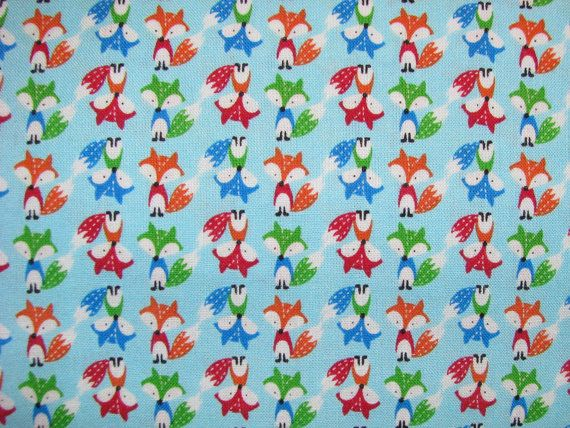 Mini Foxes Fabric blue - multicolored foxes red blue green orange - Timeless Treasures - YARD on Etsy, $9.25