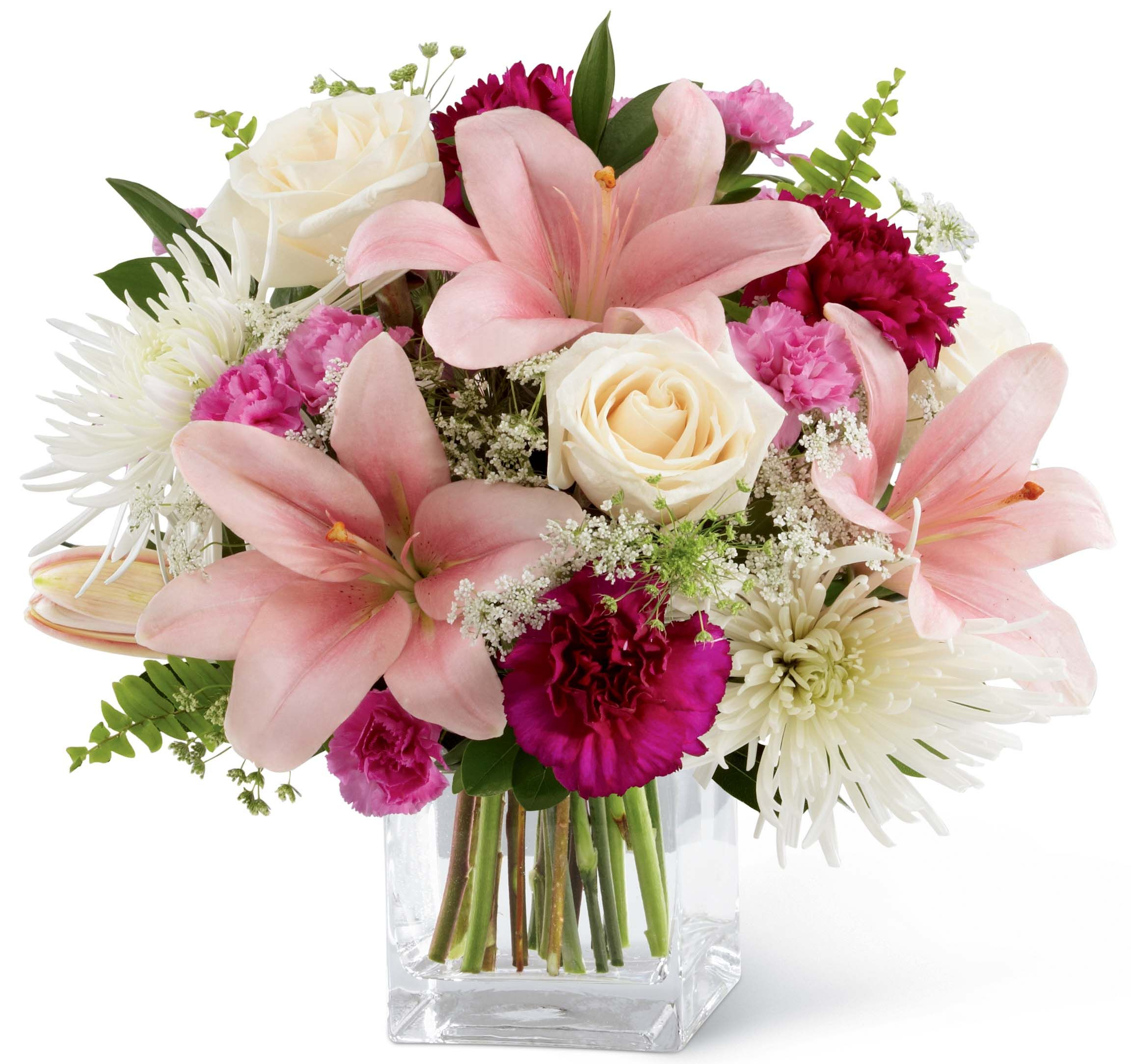 This elegant bouquet of white light pink and hot pink