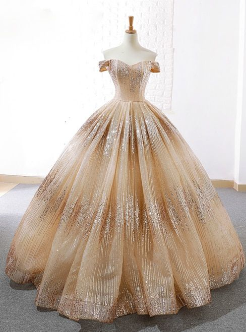 Ball Gown Gold Silver Sequins Off The Shoulder Pro