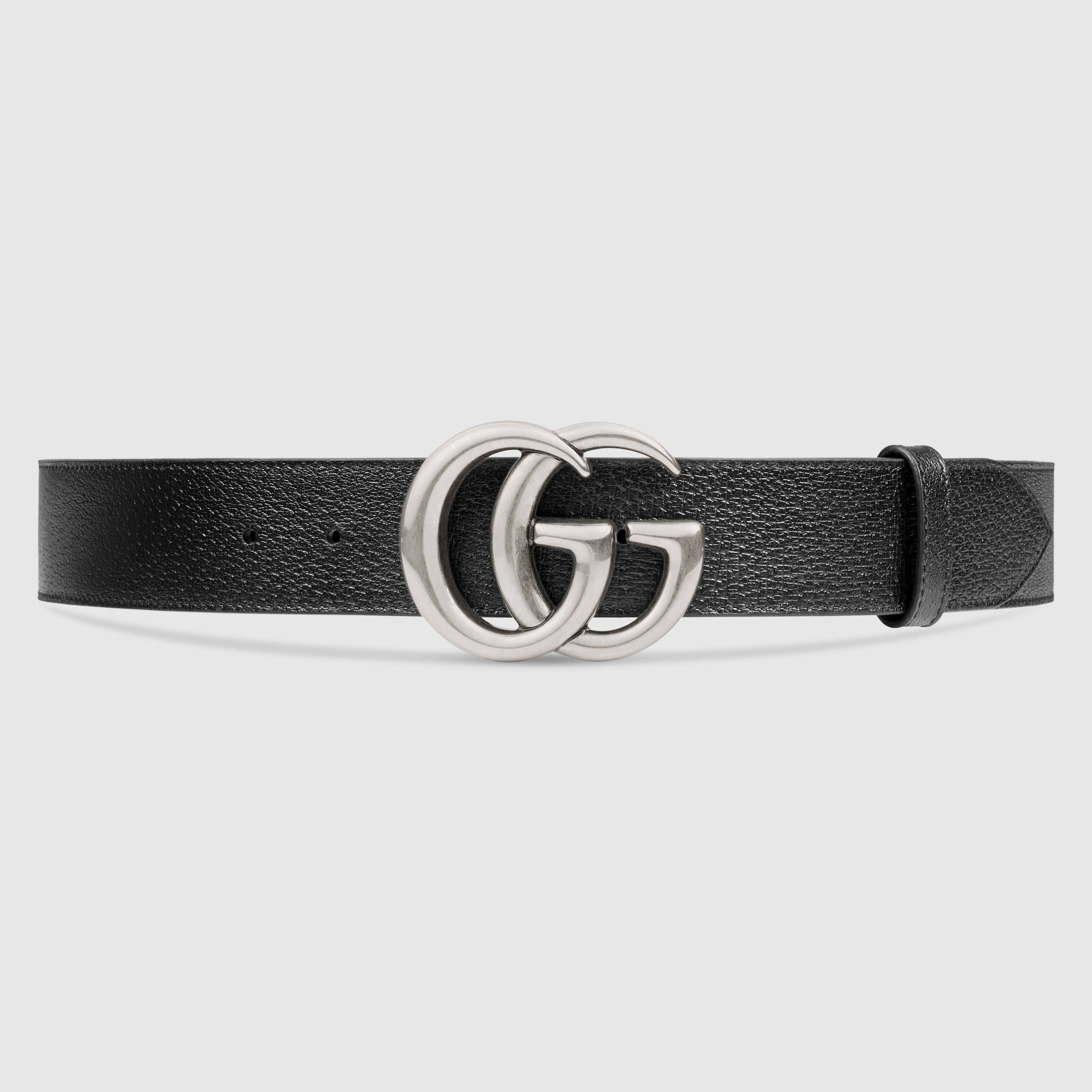dee973fcd5e  450 Leather belt with double G buckle in silver