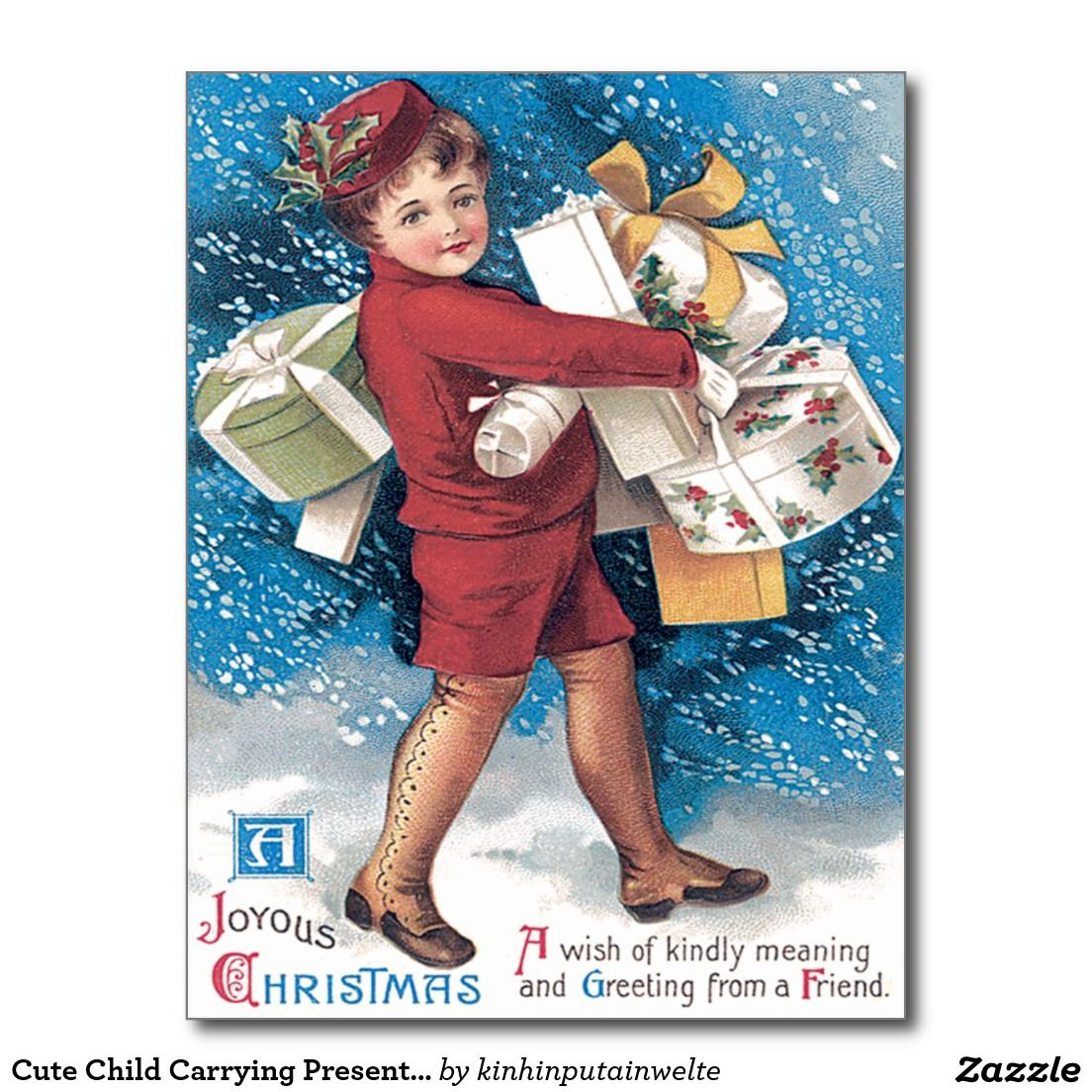 Cute Child Carrying Presents Holly Snow Postcard