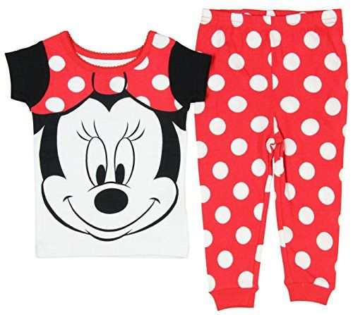 Disney Baby Girls Minnie Mouse Big Face Short Sleeve 2 PC Pajama Set