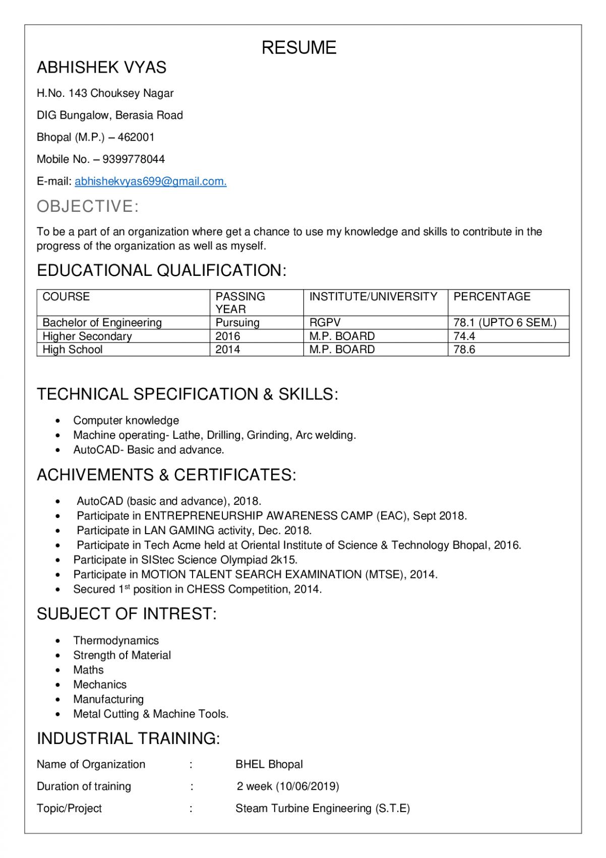 14 Resume Samples For Freshers Best Resume Format Resume Format For Freshers Resume Format