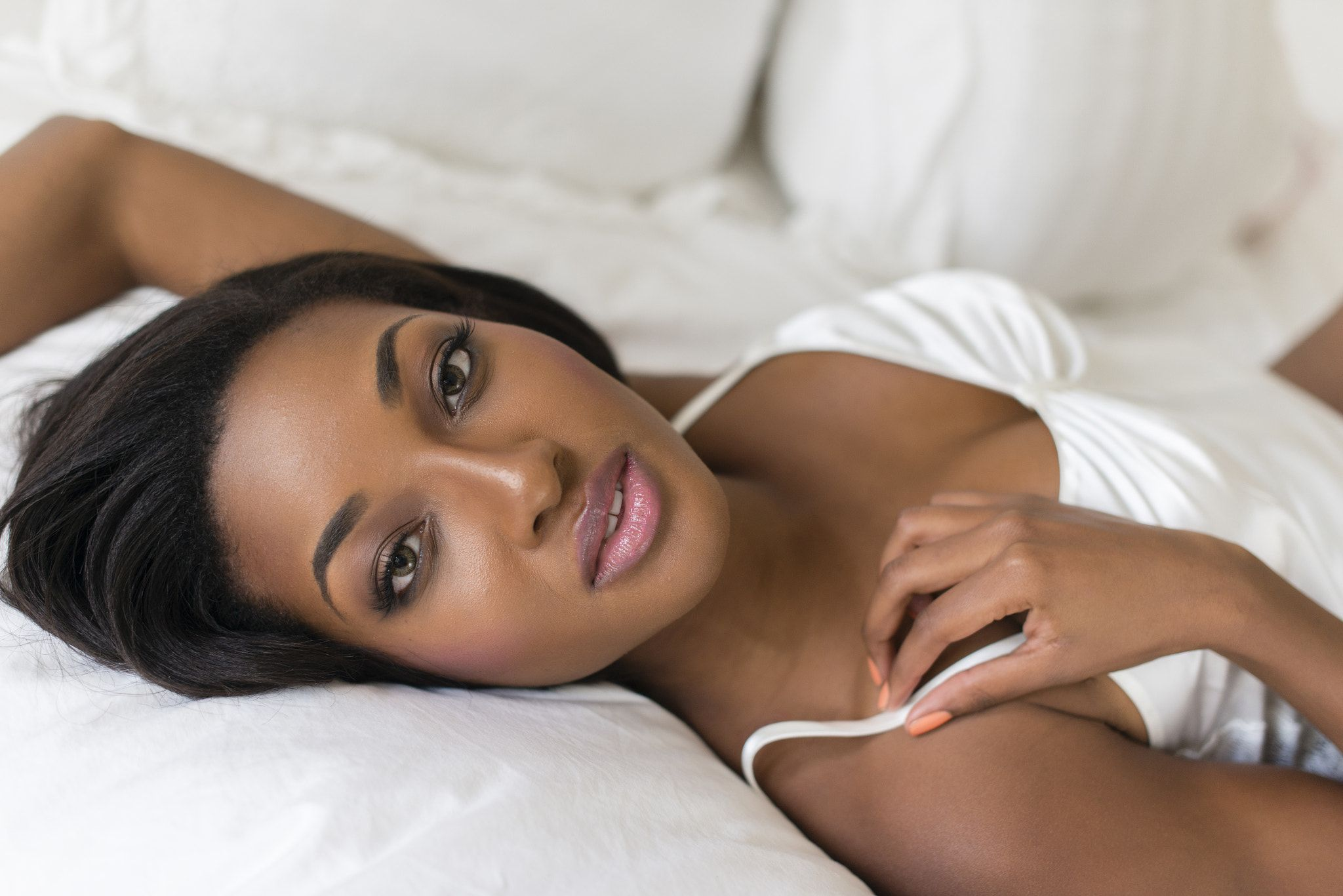 African American Woman Laying On Bed African American Woman