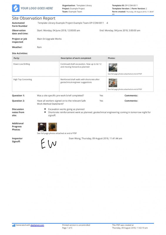 Report Template Fresh Free Site Observation Report Template Better Than Word And Excel