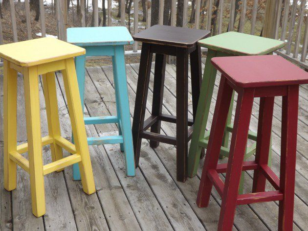 19 Rustic Reclaimed Wood DIY Projects Painted Bar Stools Red Bar Stools Tall Bar