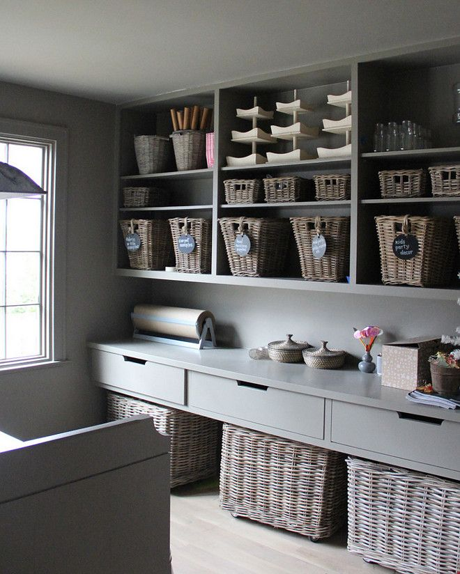 Craft Room Or Pantry. Gray Pantry With Grey Cabinets, Open