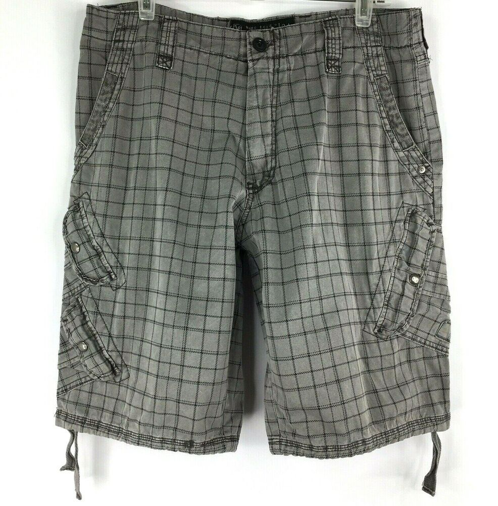 03691843a1 Mens Marc Ecko Cut Sew Surplus Cargo Plaid Shorts Sz 34 Gray Check #MarcEcko  #CargoChinos #Casual