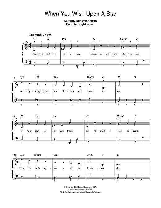 When You Wish Upon A Star Piano Chords Free Sheet Music
