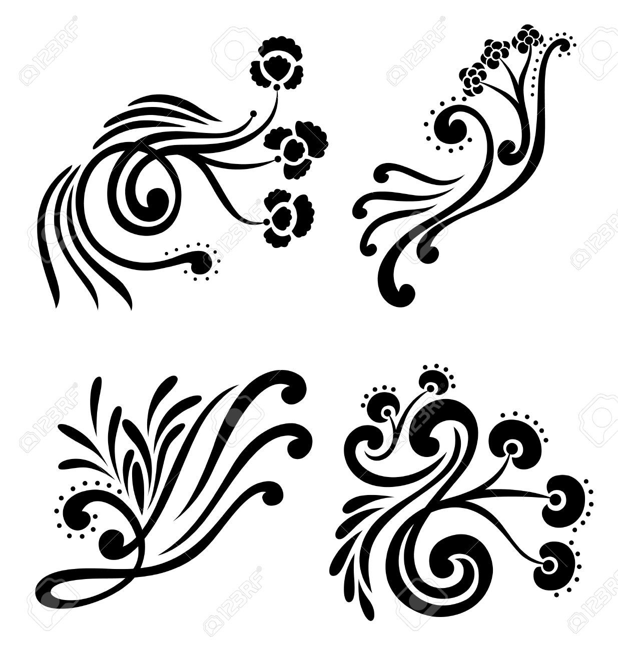 decorative design element of swirled organic shapes with