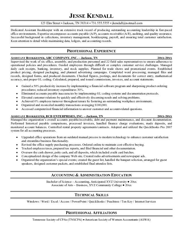 bookkeeper resume with quickbooks experience