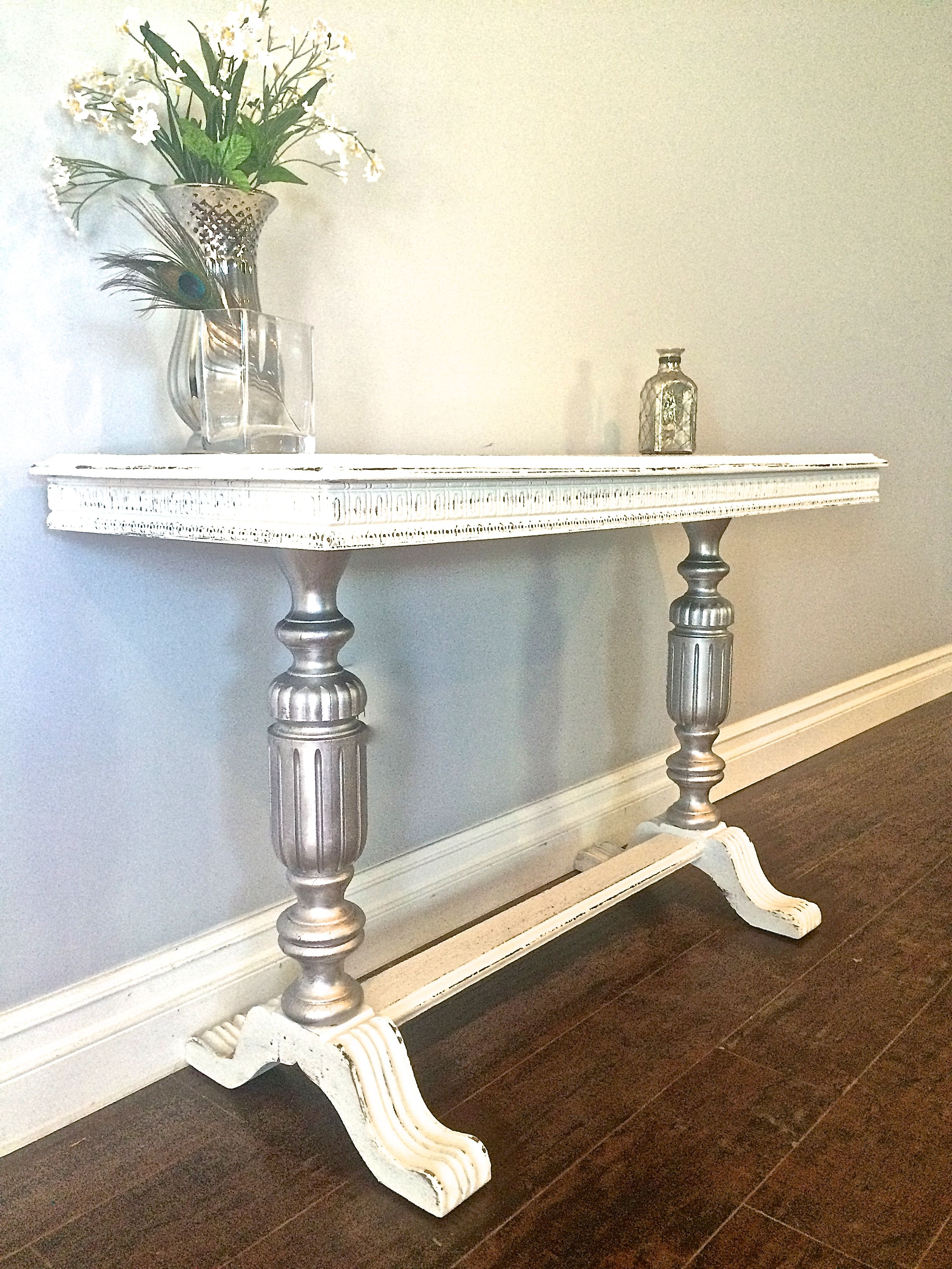 Shabby chic white silver leaf sofa table 250 sold uproar shabby chic white silver leaf sofa table 250 sold geotapseo Images