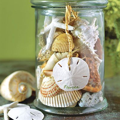Put shells, starfish, and other found items in a glass canister. Use a paint pen or permanent marker to write the vacation location on a sand dollar, and hang it from the side of the canister with twine.