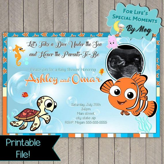 Custom Sonogram Finding Nemo Baby Shower Invitations It S A Boy