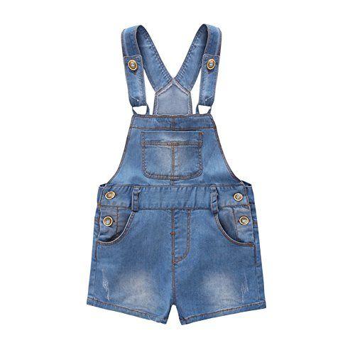 Kidscool Baby /& Little Girls Cotton Denim Adjustable Overalls Dress