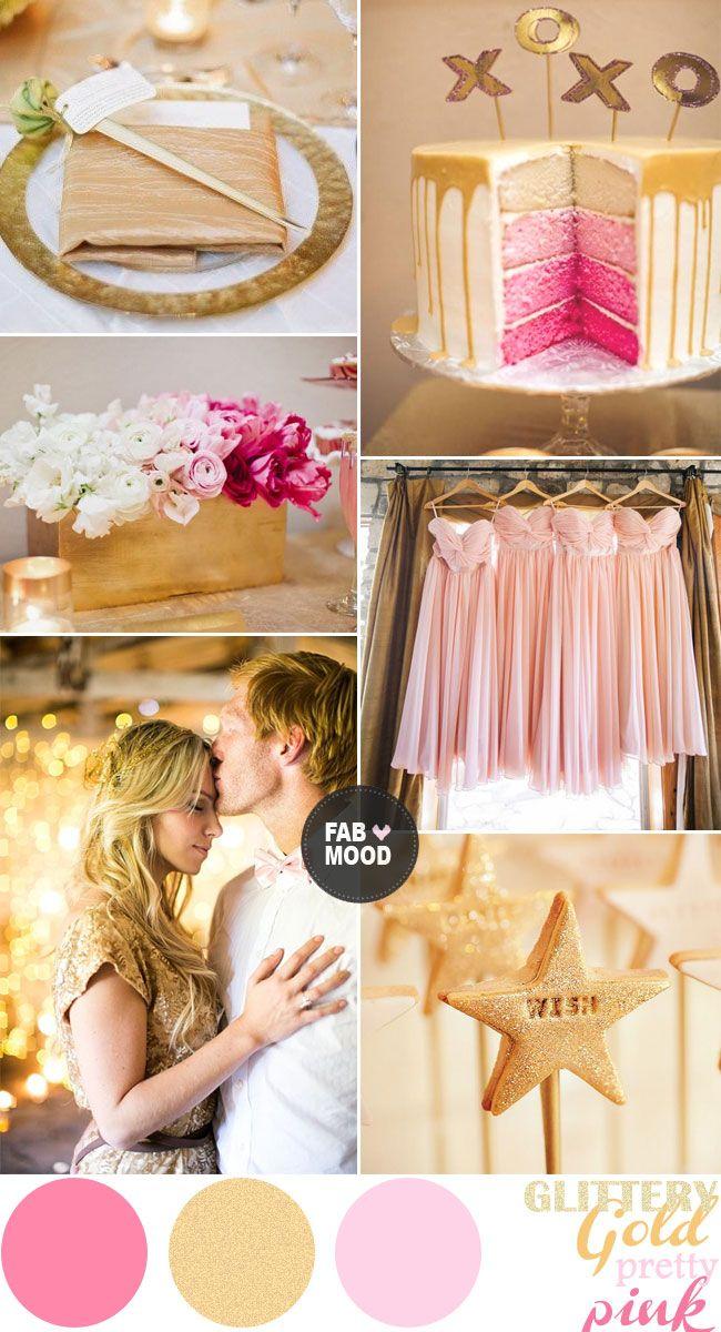 Glittery Gold  Pretty Pink Wedding Colour Palette | fabmood.com