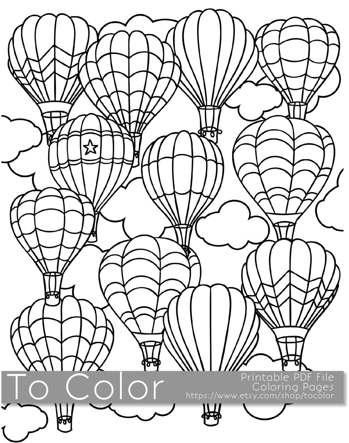 printable hot air balloon coloring page for adults pdf jpg instant download coloring book coloring sheet grown ups digital stamp by tocolor on etsy