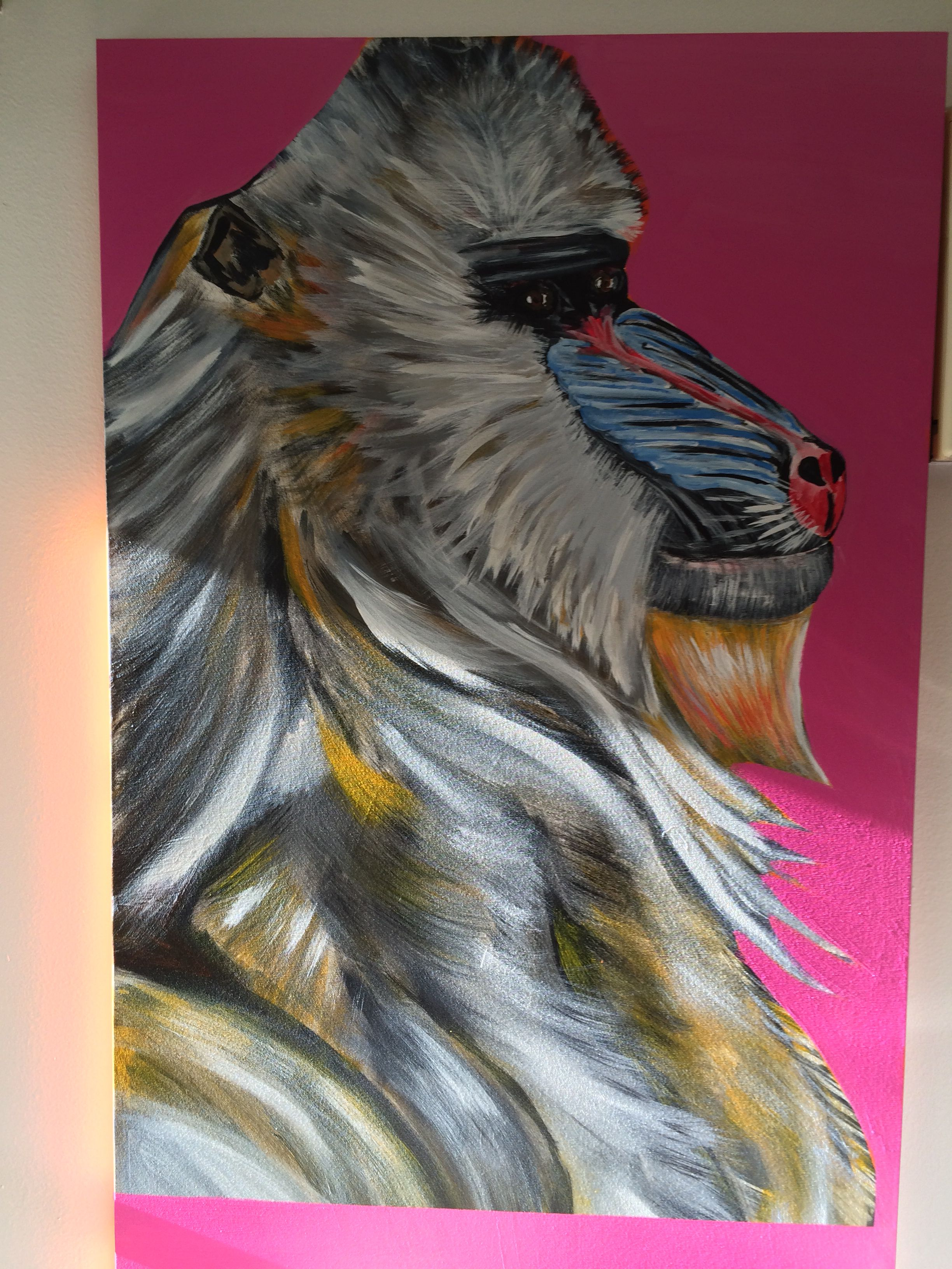 Mandrill acrylic on canvas 5 ft by 3 ft.
